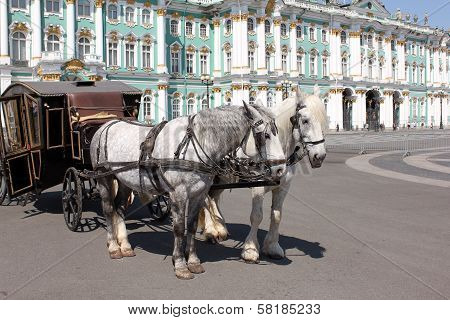 Carriage Drawn By Two Horses