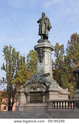 Adam Mickiewicz Monument In Warsaw, Poland