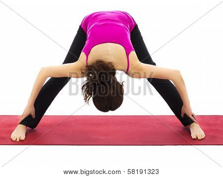 Wide Legged Forward Bend Variation In Yoga