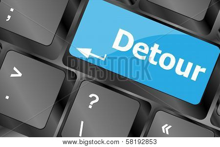 Computer Keyboard With Detour Key - Technology Background