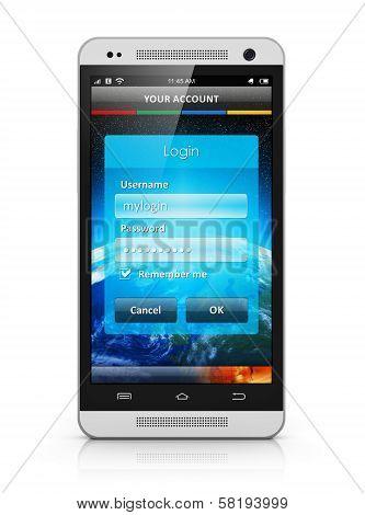 Login screen on smartphone