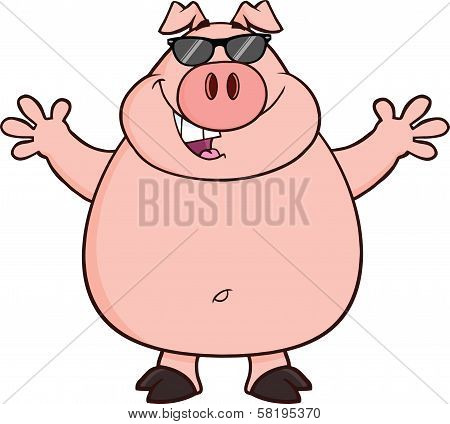 Happy Pig With Sunglasses And Open Arms For Hugging