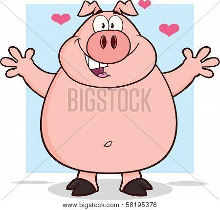 Happy Pig Cartoon Mascot Character Open Arms