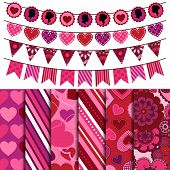 Valentine's Day Vector Backgrounds and Bunting