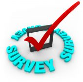 image of check mark  - A red check mark in a blox surrounded by the word Survey - JPG