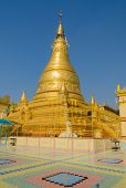 stock photo of pon  - Golden Pagoda Of Soon Oo Pon Nya Shin In Sagaing Hill - JPG