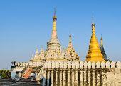 picture of nu  - Burmese Pagoda At Maha Aungmye Bonzan Monastery In Inwa - JPG