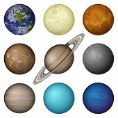 image of earth mars jupiter saturn uranus  - Space set of isolated planets of Solar System  - JPG