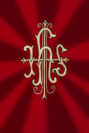 picture of monogram  - JHS traditional Catholic monogram at liturgical dress - JPG