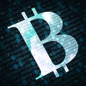 pic of bit coin  - Bit coin the virtual currency symbol illustration with numbers and letters on background - JPG