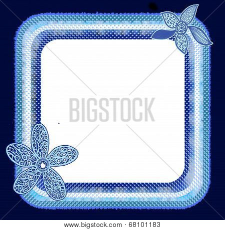 Polka Dots blue flower frame
