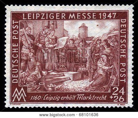 German Engraving , Devoted To Leipzig Spring Fair 1160