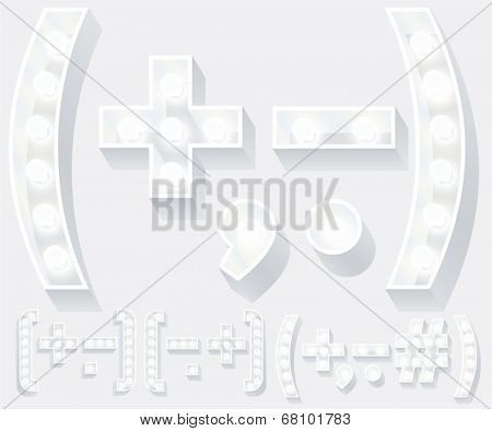 Vector illustration of unusual white lamp alphabet for light board. Symbols 1