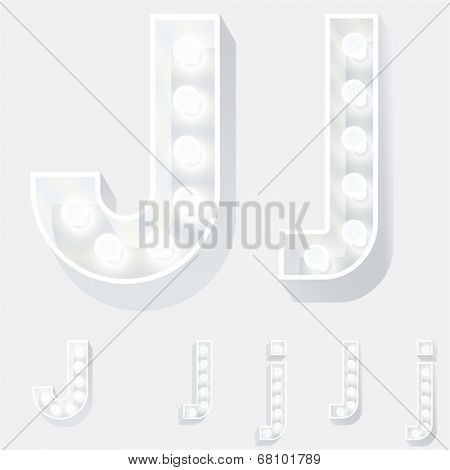 Vector illustration of unusual white lamp alphabet for light board. Letter j