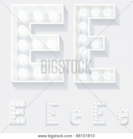 Vector illustration of unusual white lamp alphabet for light board. Letter e
