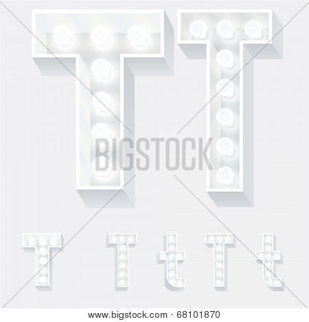 Vector illustration of unusual white lamp alphabet for light board. Letter t