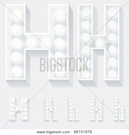Vector illustration of unusual white lamp alphabet for light board. Letter h