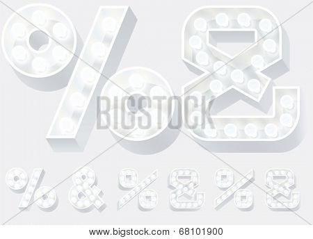 Vector illustration of unusual white lamp alphabet for light board. Symbols 3