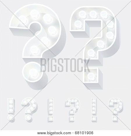 Vector illustration of unusual white lamp alphabet for light board. Symbols 4