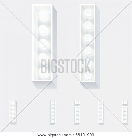 Vector illustration of unusual white lamp alphabet for light board. Letter i