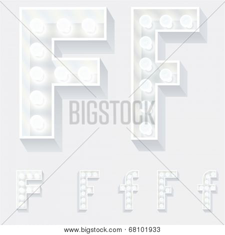 Vector illustration of unusual white lamp alphabet for light board. Letter f