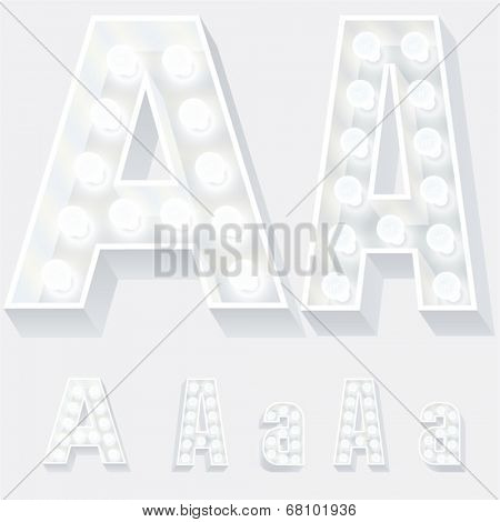 Vector illustration of unusual white lamp alphabet for light board. Letter a