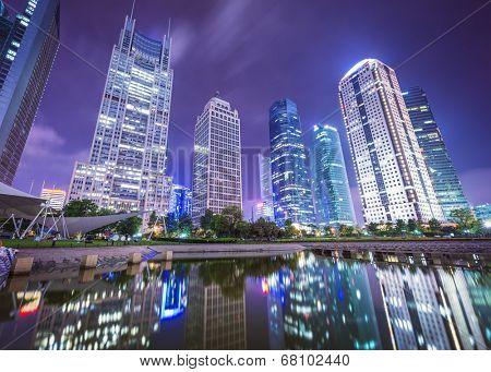 Shanghai, China cityscape from Binjiang Park.