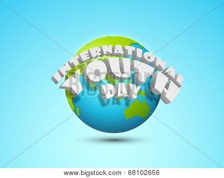 Stylish silver text International Youth Day on world globe.