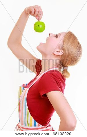 Funny Housewife In Kitchen Apron Trying To Eat Apple Timer Isolated