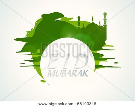 Stylish mosque on green abstract background for Muslim community Eid Mubarak festival celebrations.