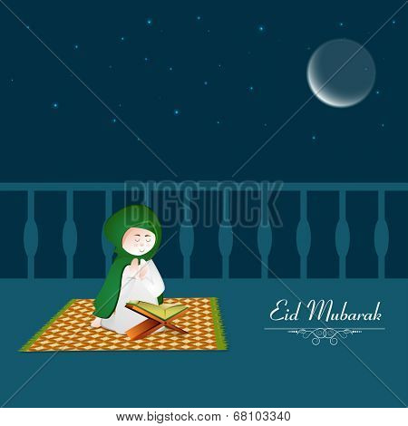 Muslim man reading islamic religious book Quran Sahreef in crescent moon light night.