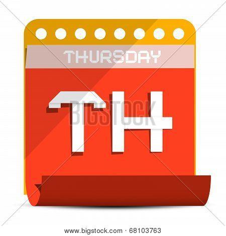 Thursday Vector Paper Calendar Illustration