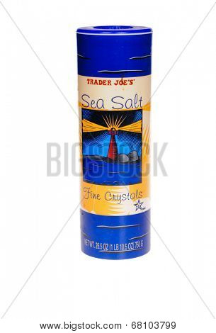 HAYWARD, CA - July 8, 2014: 26.5 oz container of Trader Joe's Sea Salt fine crystals a mediterranean sea salt distributed by Trader Joes', a privately held chain of specialty foods stores