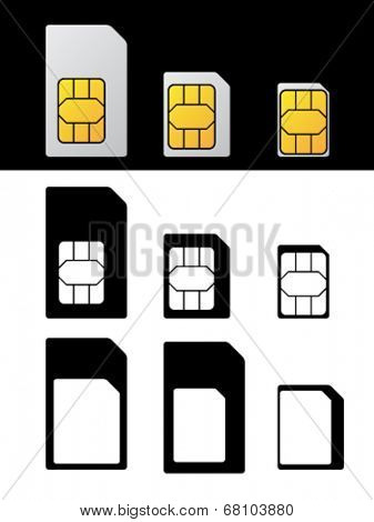 vector sim card standard micro nano adapter
