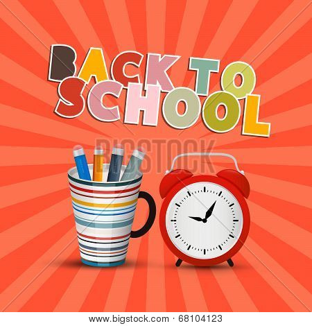 Back to School Retro Background with Paper Cut Title