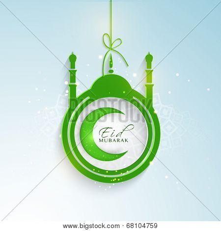 Stylish hanging sticky in mosque shape with green crescent moon on blue background for Muslim community festival celebrations.