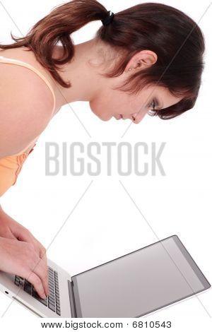 Teenage Girl Typing