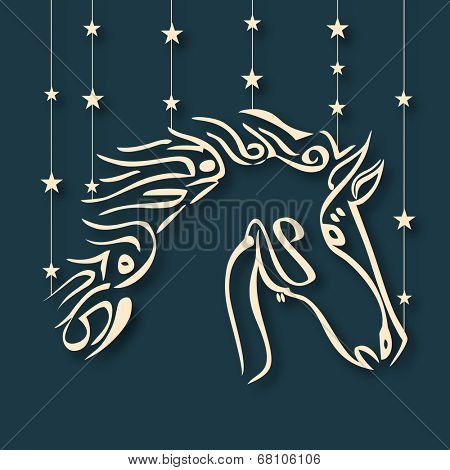 Arabic islamic calligraphy of golden text Eid Mubarak on stars decorated blue background for muslim community festival celebrations.