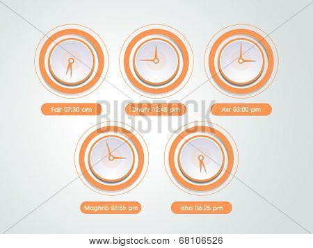Five times of Namaz (Islamic Prayer) with clocks.