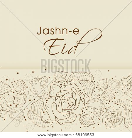 Beautiful floral design decorated Eid Mubarak greeting card for muslim community festival celebrations jashn-e-eid.