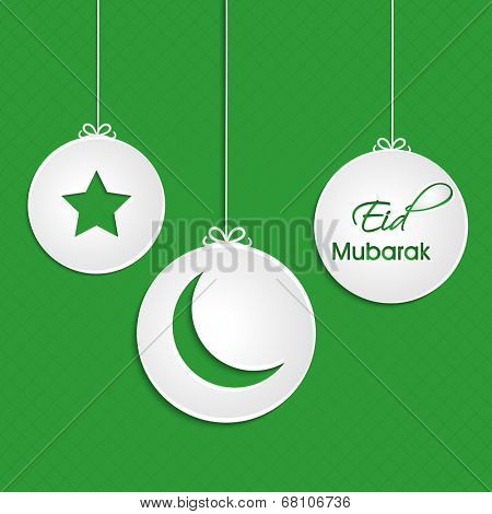 Hanging sticker, tag or label design decorated with star, crescent moon and stylish text on green background.