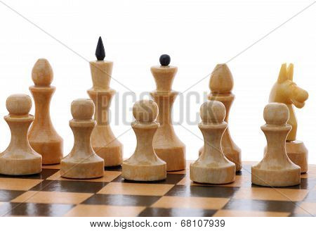 White Chessmen On Chessboard
