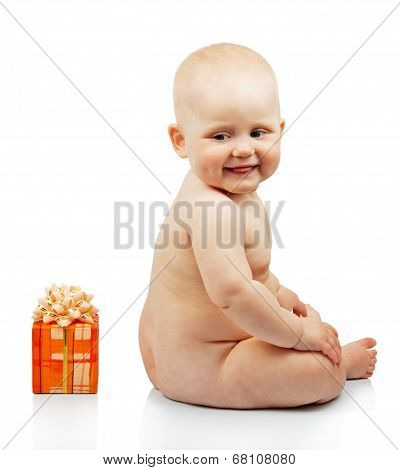 Smiling child with a gift