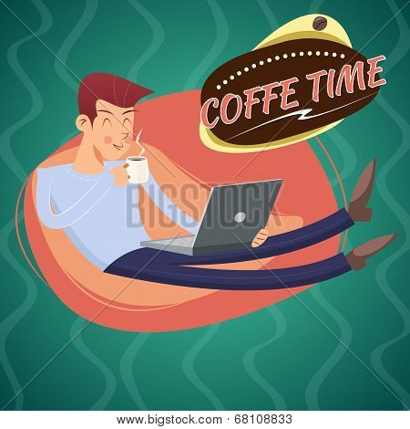 Vintage Geek Eager Beaver Symbol Man with Laptop Drinks Coffee Icon on Stylish Background Retro Cart