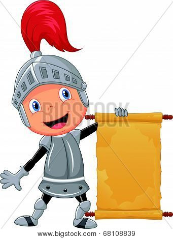 Cartoon knight boy holding blank announcement