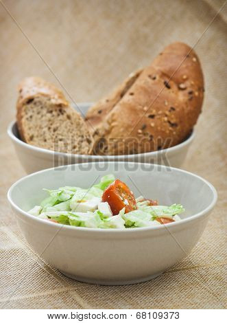 Fetta Salad And Bread