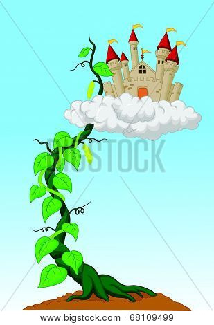 Bean sprout with castle in the clouds