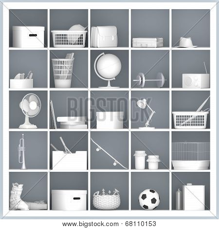 White Shelves With Different Home Related Objects