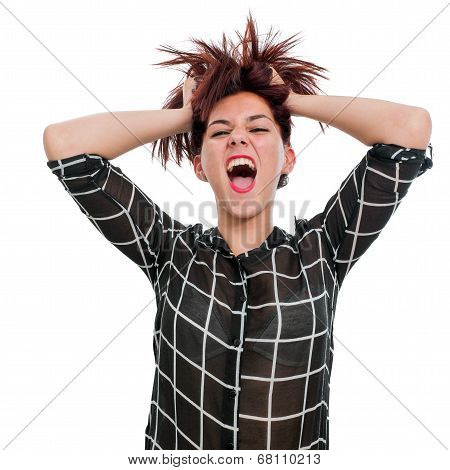 Shouting Teen Girl With Hands In Hair