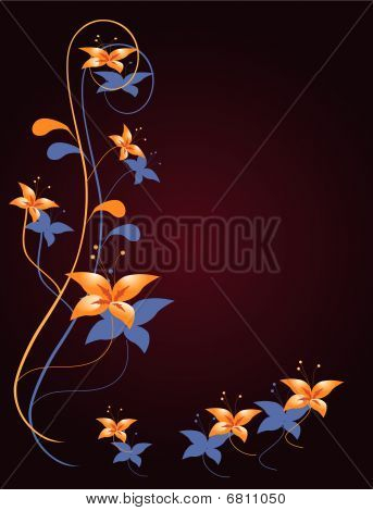 Flower decoration for the angular design